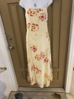 Tommy Bahama Yellow Floral Maxi Dress Silk/linen Size 4