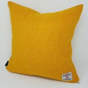 YELLOW Gold Plain Wool Tweed Cushion Cover handmade genuine Harris Tweed