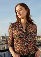 The Kooples XS Shirt Button Down Floral Semi Sheer Womens Black Red Blue
