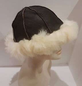 NEW mens/womens Beanie Russian Brown Sheepskin Shearling Fur Hat Real Leather