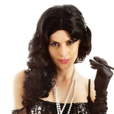 Black Flirty Flapper Costume Wig Women's 1920s Brunette Coquette Long Curly Hair