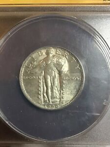 ANACS MS62FH 1929 STANDING LIBERTY QUARTER BEAUTIFUL LUSTER VERY NICE