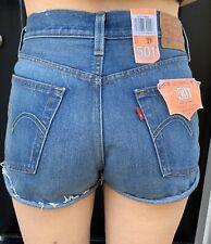Levis 501 NWT women sz 27 cutoffs jean denim shorts button fly distressed