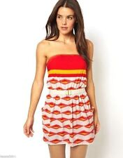 $186 MARC JACOBS S Printed *Hayley* Bandeau Gold Trim Cover Up Dress Belted