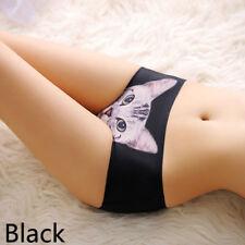 Fashion Women Cute 3D Printed Cats Black Panties Charm Ladies Briefs Underwear
