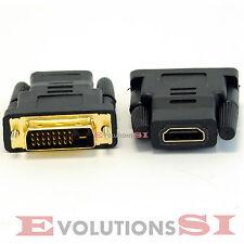 ADAPTADOR CONVERSOR HDMI HEMBRA A DVI 24 + 1 MACHO CONECTOR CLAVIJA BAÑADO ORO