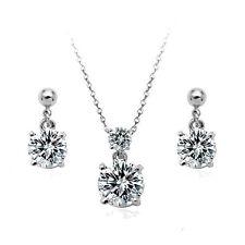 Set Joyas Collar Colgante Pendientes oro blanco 18K CRISTAL IDEA DE REGALO