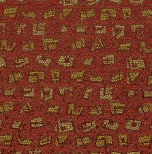 ART DECO GEOMETRIC BURGUNDY GOLD RED CRYPTON UPHOLSTERY FABRIC 1321832