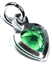 1 STERLING SILVER HEART CHARM WITH EMERALD GREEN CRYSTAL & OPEN JUMP RING, 7 MM