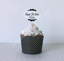 "24 ""Happy Birthday Wishes"" (Black/White) Cupcake Topper/Picks - Double Sided"
