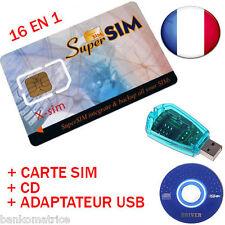 CARTE SUPER SIM VIERGE + LECTEUR ENREGISTREUR SIM SAUVEGARDE CLONE TELEPHONE