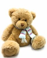 """Keel Teddy Bear Soft Toy 16"""" Sitting Beige Christmas Gift With Sparkly Scarf"""