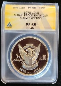 AH1398-1978 Sudan 10 Pound Silver Proof ANACS PF68 DCAM Summit Meeting KM#77