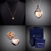 Halskette OpalHerz D'elle Bijoux vergoldet verziert mit Swarovski® Kristall R145
