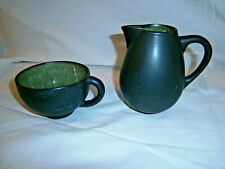 Rorstrand Lars Thoren MCM Black/Green Pitcher & Tea Cup Made in France Vintage