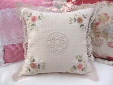 """Shabby~Hand Crochet Lace Ribbon Floral Embroidery Throw Pillow Case~16""""~Cottage"""