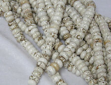 """2 Strands Set of 10x4mm Natural White Turquoise Rondelle Beads 15.5"""" Strand"""