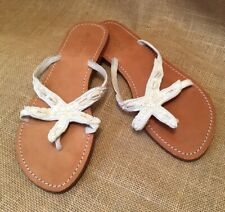 d4febdc58fa07 MYSTIQUE SANDALS 10 STARFISH BEADED LEATHER SHELLS FLIP FLOP THONGS T STRAP  FLAT