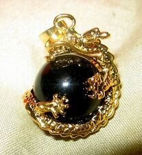 7 CTW BLACK JADE WITH ORIENTAL DRAGON PENDANT IN 24K GOLD FILLED 2 CHAINS
