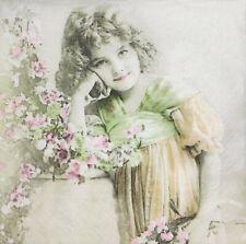 3x Single Paper Napkins For Decoupage Sagen Vintage Design Girl And Flowers N095