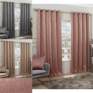 Pair of EYELET Ring Top Woven Regency Damask Thermal BLACKOUT LINED Curtains