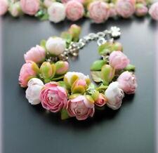 Flower peony pink wedding bridal bracelet HANDCRAFTED Fashion polymer clay