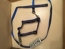 Rogx for Dogzblue & yellow dog lead with matching harness s -m