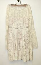 FREE PEOPLE Ladies Cream White Lace Long Bell Sleeve Midi Skater Dress UK4 US0