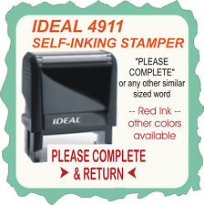 Please Complete & Return, Custom, Trodat / Ideal Self Inking Stamp 4911 Red Ink