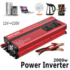 2000W Car LED Power Inverter Converter DC 12V To AC 220V 4 USB Ports Charger