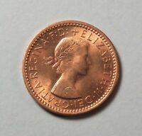 1954 Great Britain Farthing Unc Bronze Coin Queen Elizabeth UK England Wren Bird