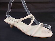 GLAMOUR LADIES BEIGE LEATHER STRAPPY HEELS CASUAL SANDALS WOMANS UK 7 -EU 40