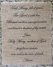 Primitive Burlap Hail Mary Prayer Banner Panel Appliqué Sign Catholic 8x10 Frame
