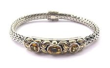 BJC 18k Yellow Gold & Silver Bangle Bracelet With Citrine November Birthstone