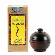 Lasa Natural Solid Perfume PATCHOULI Fragrance in Wooden Jar, Made in India -6gm
