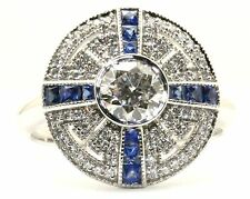 18ct. White Gold Art Deco Style Sapphire and Diamond Cluster Ring.