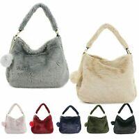Ladies Faux Fur Pom Pom Bag Women's Winter Soft Faux Shoulder Bag UK