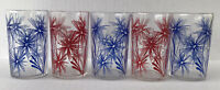 "Vintage Kraft Swanky Swig Juice Glasses  3 1/2"" Cornflower Blue Red Set Of 5"