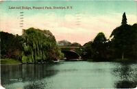 Vintage Postcard - Lake and Bridge Prospect Park Brooklyn New York NY #3487