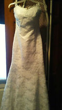 Long white lace wedding dress gown size 2