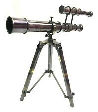 Nautical Antique Brass Double Barrel Telescope with Brass Tripod Stand Decor