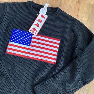 Kappa Authentic LA Bessarty Sweatshirt Herren Strick Schwarz Gr M 304NYB0-0923