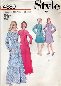 Style Sewing Pattern 4380 Dressing Gown, Robe, Housecoat, Vintage 70s Size 12-14