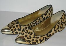 IVANKA TRUMP Carlaly Leopard Leather Gold Toe Flats Size 6 M
