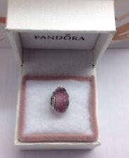 "Pandora ""  Light Purple Shimmer Faceted "" Murano Glass Charm # 791651"