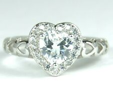 Women's White Gold plated Clear Crystal Heart ring