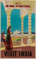 Original Vintage Poster - Air India - Plane - Aviation - Tajmahal - Sari - 1950