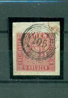 Baden, Wappen im Quadrat, Nr. 12 gestempelt Nr. 105 auf Briefstück
