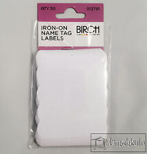 BIRCH Iron On Name Tag Clothes Labels - 30 Tags - Easy to Use