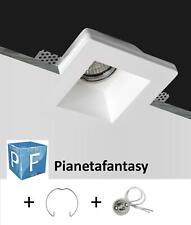 PORTA FARETTO IN GESSO CERAMICO X CONTROSOFFITTI LED + MOLLA E ATTACCO GU10 PF10